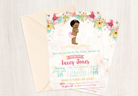 African American Vintage Baby Girl, Baby Shower Invitations, Printable Baby Shower Invitations, Baby Girl, Black, Teal, Pink, Floral 001