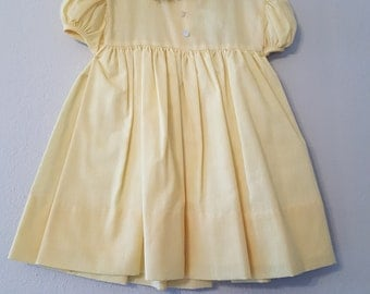 Vintage Girls Yellow Gingham Dress with Lace Trimmed Collar- Size 24 months -New, never worn