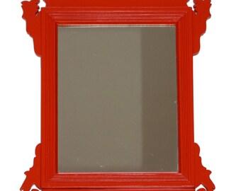 Vintage Refurbished Chippendale Vanity Mirror Wooden Painted Red Orange