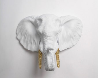 Elephant Decor Faux Taxidermy - The Belle - White Resin Elephant Head w/Gold Glitter Tusks - Resin White Faux Taxidermy- Chic & Trendy
