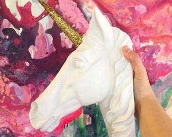 The Bayer Unicorn Head Mount in White Gold Glitter Staff - Unicorn Decor by White Faux Taxidermy - Unicorn Wall Mount Art - Kids Room Decor
