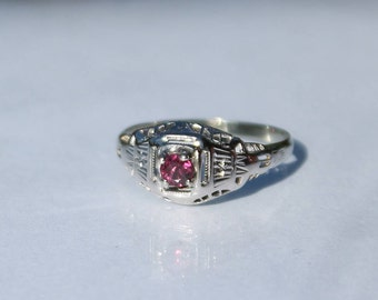 18K White Gold Ruby Filigree Victorian Ring