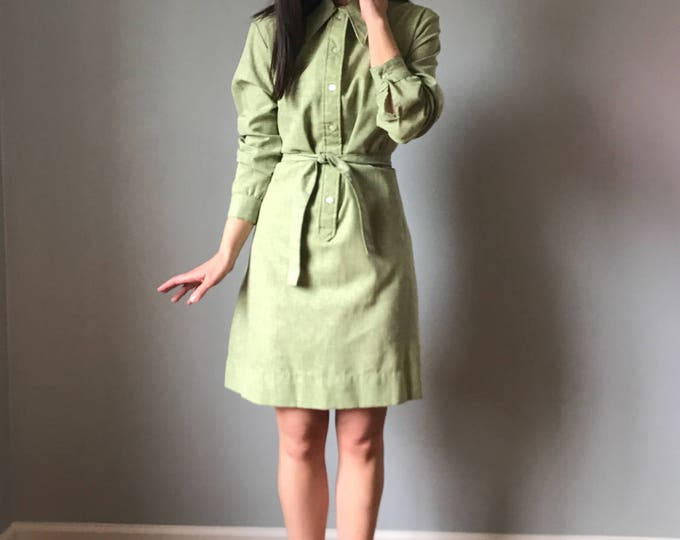 Vintage 70s Sage Green Shirtdress