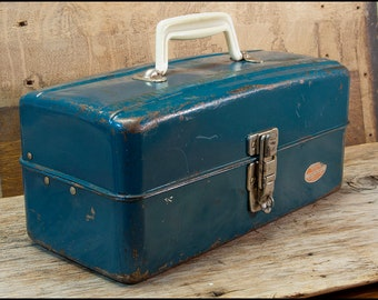 Blue Green Tackle Box, Vintage 1960s Union Chest Co Spill Proof Steel Tool Box