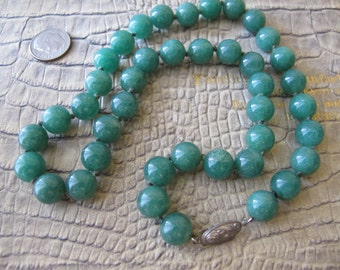 "Chinese Export Jade-Green ADVENTURINE 10MM Bead Necklace. Stamped ""Silver"" Clasp. Traditional Asian Gem Bead Jewelry. Silk Knotted. 19 IN"