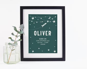 Personalised Baby Print Space Teal