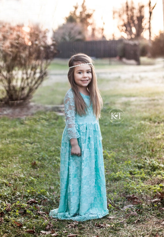 Aqua Lace Overlay Dress- Flower Girl