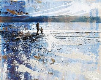 "Winter light ART print of ""Winter Skies"" by Melanie McDonald - mother and child - beach print - beautiful beach scene - fine art print"