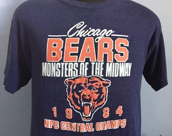 287591e55 ... 80s Vintage Chicago Bears 1984 NFC Central Champs Monsters of the  Midway nfl football T- ...