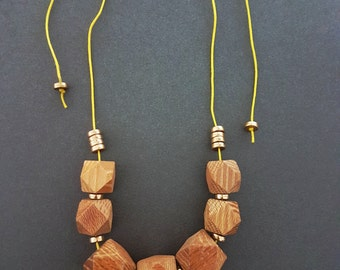 Hexagon Wood Beaded Geometric Faceted Bib Necklace, Adjustable, Statement Necklace, Gold Accents, Macrame Jewellery