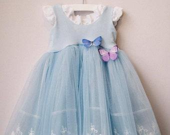Cinderella Blue First Birthday Dress, Baby Girl Dress, First Birthday Outfit
