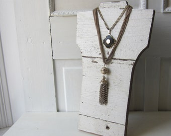 Necklace Bust - Chippy White Barn Wood  - Collapsible Jewelry Display