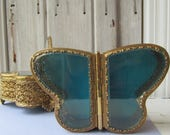 Vintage Filigree Ormolu Gilded Double Opening Beveled Glass Butterfly Jewellery Box