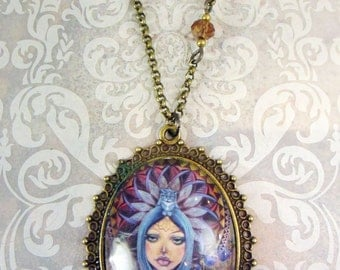 Earth Mother, art glass pendant, fancy necklace, vintage pendant, victorian jewelry, ornate jewelery, cabochon