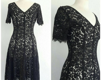 Vintage Black Sheer Lace Dress - Lace Knee Length Tea Dress - Goth Romantic Grunge Evening - Fit & Flare