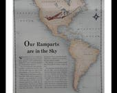 "American Airlines 1943 Illustrated Ad ""AA"" airplane & wonderful map of North America South America 'Ramparts in the Sky' Cool Map.  14x11"