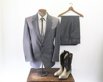 1970s 2 piece Western Suit Jacket & Pants Men's Vintage Blazer and Slacks by Larry Mahan's Cowboy Collection - Size 40 R (MEDIUM)