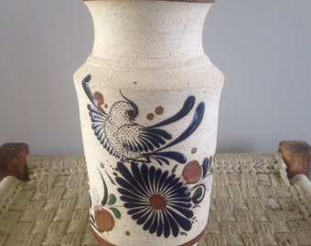 SALE! handpainted Mexican pottery bird vase Folk Art