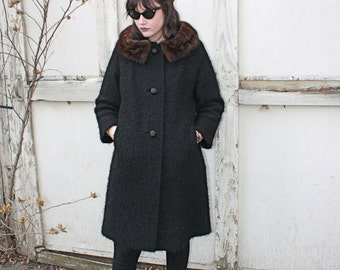 60s Simple Black Textured Winter Coat