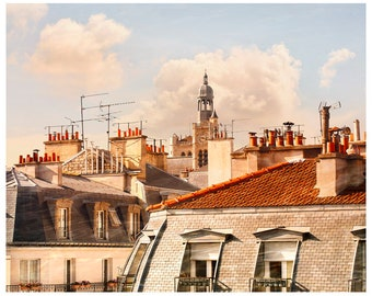Paris Rooftops Photography, Extra Large wall Art, Paris wall art print, Paris photo Architecture city art, oversized art 18x24, 24x30, 30x40