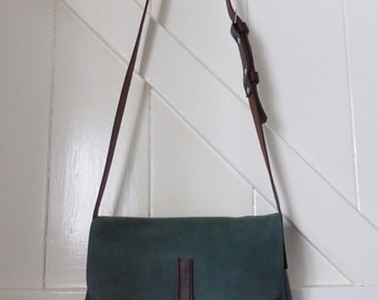 Green leather messenger bag 'Sage' handmade with adjustable brown strap silver stud fastening overbody Alice bag artisan made in England
