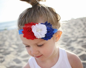 Fourth of July Headband, Infant Headband, Newborn Headband, Baby Headband, Red, White, and Blue Headband, 4th of July Headband