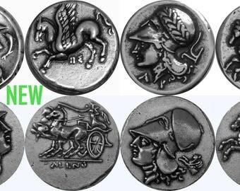 Athena, Goddess of Wisdom and Pegasus, 4 Coin set. (4-AthPeg-S)