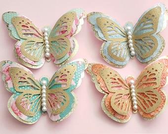 Items similar to blue butterflies love script theme for Room decor embellishment art 3d