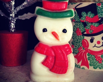 Vintage Snowman Christmas Holiday Candle Mid Century Charming Small Unused Candle Xmas Decor Display Collectible