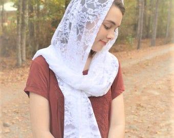 Catholic Soft White Rectangular Scarf | Head Cover Traditional Latin Mass Veil for Mass White Chapel Veil White Mantilla Robin Nest Lane