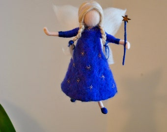 Girls Gift Needle Felted wool fairy  : Blue fairy with stars