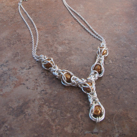 Sterling silver Byzantine caged bronze Swarovski pearl chainmaille necklace