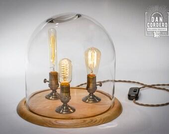 Edison Bell Jar Lamp   Table Lamp   Desk Lamp   Glass Dome   Bell Jar