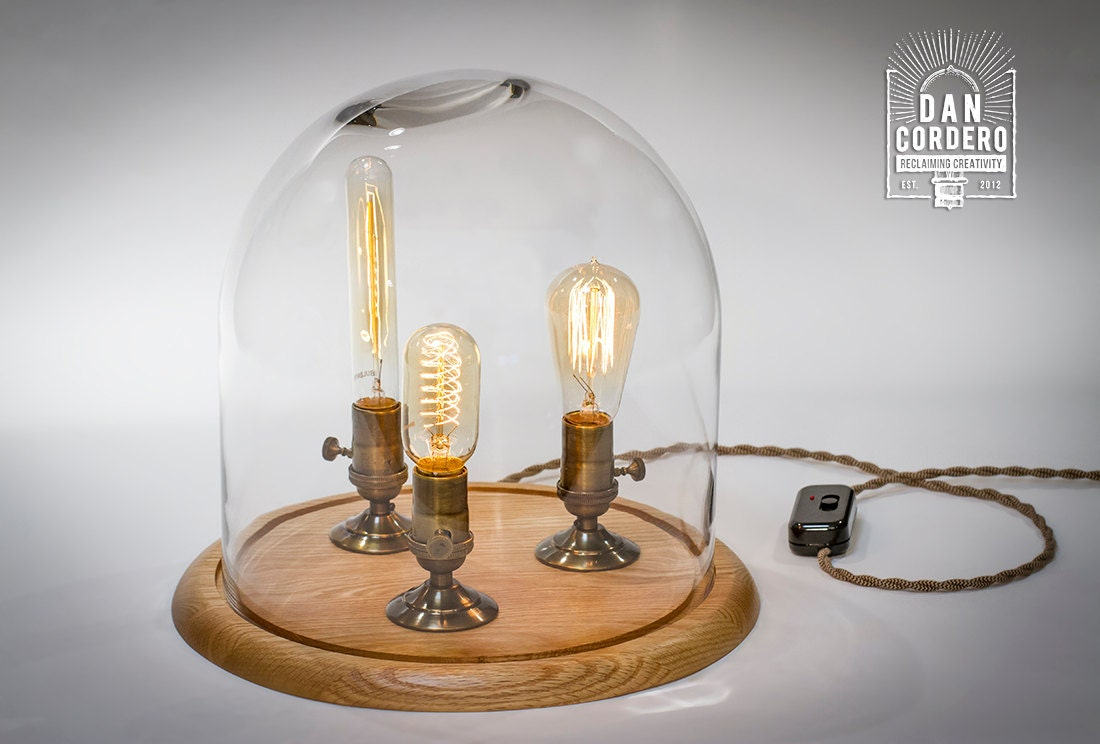 Edison bell jar lamp table lamp desk lamp glass dome - Lampe vintage occasion ...