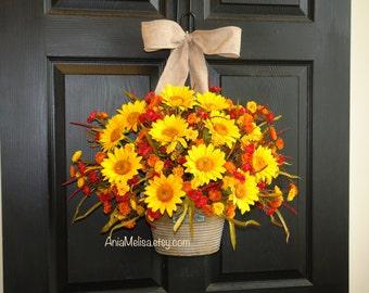 fall wreaths fall wreath outdoor wreaths for front door wreaths sunflowers wreath Thanksgiving welcome autumn Halloween wreaths