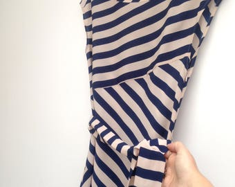 Stripe Shift Dress w belt / sash retro look