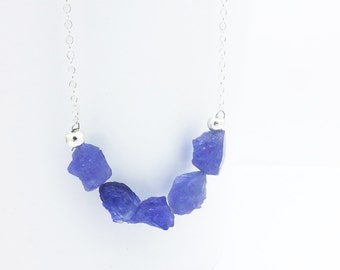 Rough Tanzanite Necklace Sterling Silver or Gold Filled, Tanzanite Jewelry, Raw Tanzanite Necklace, Blue Gemstone Layering Jewelry