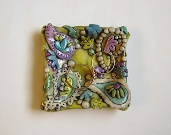 Paisley pattern ring dish, Boho Trinket Dish, Jewelry Dish