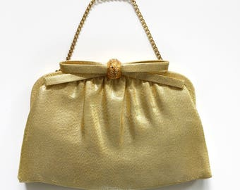 Vintage After Five Gold Lamé Purse Rhinestone Bow Clasp Handbag Mid Century 1960s Evening Bag