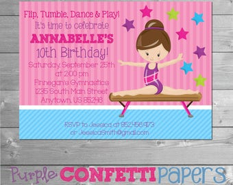 Gymnastics Birthday Invitation, Gymnastics Invitation, Gymnastics Party, Gymnastic Birthday Invitation, Gymnastic Invitation, Printable