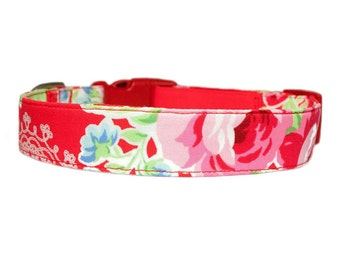 Red Floral Dog Collar Dog Collar w/Optional Flower Accessory