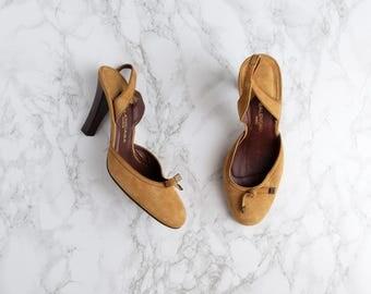 1990s Shoes - Vintage 90s Caramel Suede Balenciaga Slingback Heels