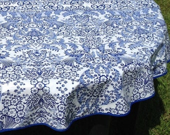 60 Round Oilcloth Tablecloth Light BLUE Cherry NO HOLE