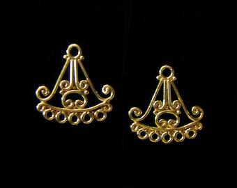 SALE 2 pcs Vermeil Chandelier Earring Component Oriental Scroll 19.5 mm C1111