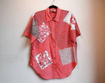 Pink Patchwork Vintage Blouse Oversize Button Up Floral Patterned Hipster Retro Shirt Collared Short Sleeve Festival Hippy Patchwork