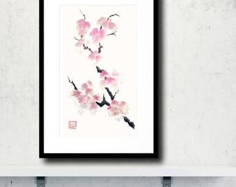 Pink Cherry Blossom Branch Original Chinese Brush Painting