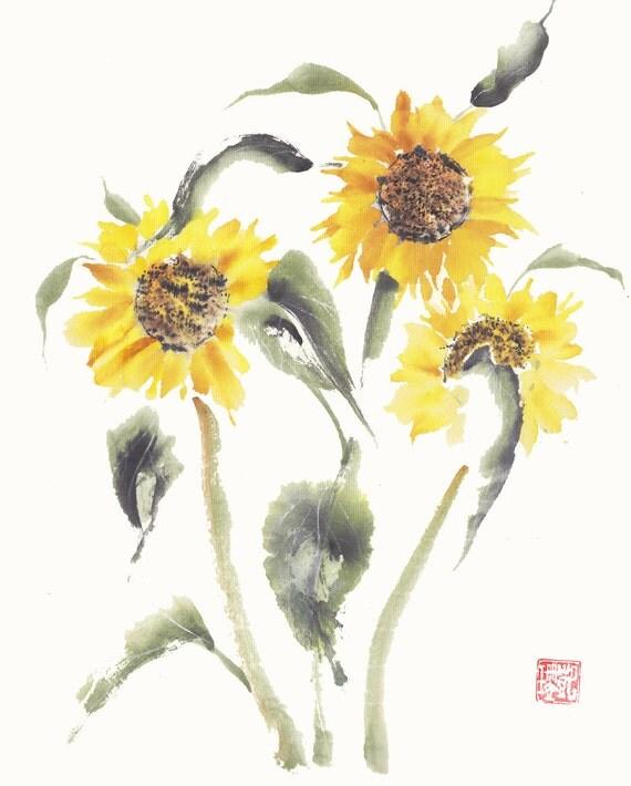 Sunflowers in Bloom Original Watercolor Painting Chinese Brush Artwork