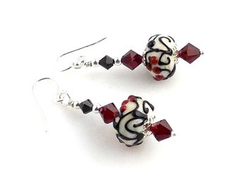 Black White and Red Crystal Lampwork Glass Beaded Earrings, Glass Bead Earrings, Lampwork Jewelry, Gifts, Holiday Jewelry, Valentine Day