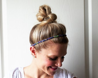 Blue Top Knot Headband Boho Crochet Hair Accessory