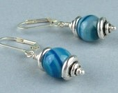 Dangle Earrings, Blue Striped Agate, Semi Precious Stones, Brilliant Blues, Antiqued Silver, Natural Agate, Gemstone Earrings, Gift for Her